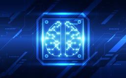 Διανυσματικός αφηρημένος τεχνητής νοημοσύνης πίνακας κυκλωμάτων εγκεφάλου φουτουριστικός, μπλε χρώμα τεχνολογίας απεικόνισης υψηλ απεικόνιση αποθεμάτων