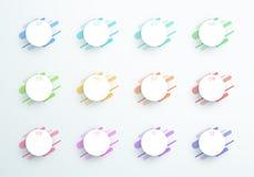 Διανυσματικός αφηρημένος τρισδιάστατος αριθμός παραθύρων κειμένου κύκλων 1 έως 12 Στοκ Φωτογραφίες