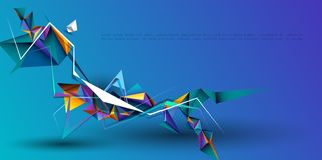 Διανυσματικός αφηρημένος τρισδιάστατος γεωμετρικός, σχέδιο υποβάθρου πολυγώνων Πολύχρωμο, μπλε, πορφυρό, κίτρινο και πράσινο χρώμ στοκ φωτογραφία με δικαίωμα ελεύθερης χρήσης