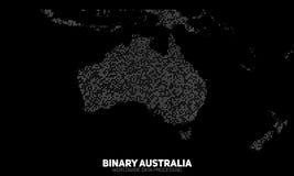 Διανυσματικός αφηρημένος δυαδικός χάρτης της Αυστραλίας Ήπειροι που κατασκευάζονται από τους δυαδικούς αριθμούς Παγκόσμιο δίκτυο  ελεύθερη απεικόνιση δικαιώματος