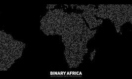 Διανυσματικός αφηρημένος δυαδικός χάρτης της Αφρικής Ήπειροι που κατασκευάζονται από τους δυαδικούς αριθμούς Παγκόσμιο δίκτυο πλη διανυσματική απεικόνιση