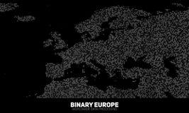 Διανυσματικός αφηρημένος δυαδικός χάρτης της Ευρώπης Ήπειροι που κατασκευάζονται από τους δυαδικούς αριθμούς Παγκόσμιο δίκτυο πλη διανυσματική απεικόνιση