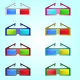 Διανυσματικός γραφικός της διαφορετικής απεικόνισης γυαλιών ηλίου χρωμάτων Στοκ Φωτογραφίες