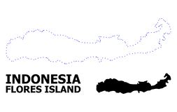 Διανυσματικός διαστιγμένος περίγραμμα χάρτης της Ινδονησίας - του νησιού Flores με το όνομα απεικόνιση αποθεμάτων