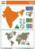 Διανυσματικός εθνικός πολιτισμός έθνους χωρών απεικόνισης της Ινδίας concep Στοκ Εικόνα