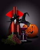 Διανυσματικός εικονογράφος του γυαλιού και του μπουκαλιού κρασιού σε Dracula και τη μάγισσα Στοκ Εικόνα
