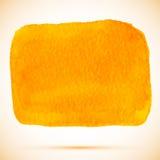 Διανυσματικός λεκές χρωμάτων watercolor τετραγωνικός πορτοκαλής με τη σκιά Στοκ Φωτογραφίες