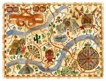 Διανυσματικός εκλεκτής ποιότητας χάρτης περιπετειών με τους θησαυρούς πειρατών, Θεοί Αζτέκων, πυξίδα ελεύθερη απεικόνιση δικαιώματος