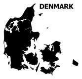 Διανυσματικός επίπεδος χάρτης της Δανίας με το όνομα διανυσματική απεικόνιση