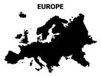 Διανυσματικός επίπεδος χάρτης της Ευρώπης με το όνομα απεικόνιση αποθεμάτων