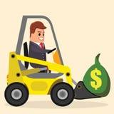 Διανυσματικός επιχειρηματίας ή διευθυντής που οδηγεί έναν φορτωτή Φορτηγό με τα χρήματα Επίπεδη απεικόνιση αποθεμάτων Στοκ εικόνα με δικαίωμα ελεύθερης χρήσης