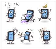 Διανυσματικός ευτυχής, απασχολημένος με στα έξυπνα τηλεφωνικά κινούμενα σχέδια απεικόνιση αποθεμάτων