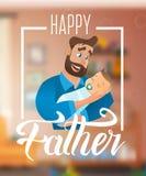 Διανυσματικός ευτυχής πατέρας έννοιας απεικόνισης κινούμενων σχεδίων ελεύθερη απεικόνιση δικαιώματος