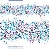 Διανυσματικός ζωηρόχρωμος οριζόντιος καμβάς μουσικής, άνευ ραφής ταινία με το stri διανυσματική απεικόνιση