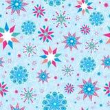 Διανυσματικός ζωηρόχρωμος στα μπλε συρμένα χέρι christmass snowflakes αστέρια επαναλαμβάνει το άνευ ραφής υπόβαθρο σχεδίων μπορέσ Στοκ φωτογραφία με δικαίωμα ελεύθερης χρήσης