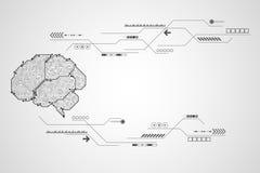 Διανυσματικός ηλεκτρονικός εγκέφαλος τεχνολογίας Στοκ Φωτογραφία