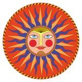 Διανυσματικός θερινός ήλιος στο ρωσικό ύφος απεικόνιση αποθεμάτων