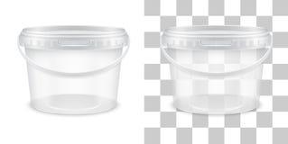 Διανυσματικός διαφανής κενός πλαστικός κάδος για την αποθήκευση Στοκ φωτογραφία με δικαίωμα ελεύθερης χρήσης
