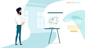 Διανυσματικός ιστοχώρος επιχείρησης εφαρμοσμένης μηχανικής κατασκευής ελεύθερη απεικόνιση δικαιώματος