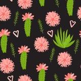 Διανυσματικός κάκτος με το άνευ ραφής σχέδιο λουλουδιών που απομονώνεται στο σκοτεινό υπόβαθρο Στοκ Εικόνα