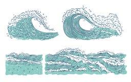 Διανυσματικός καθορισμένος ωκεανός θάλασσας κυμάτων Μεγάλος και μικρός κυανός παφλασμός εκρήξεων με τον αφρό και τις φυσαλίδες Απ ελεύθερη απεικόνιση δικαιώματος