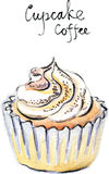Διανυσματικός καφές cupcake Watercolor Στοκ Φωτογραφίες