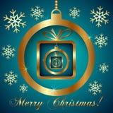 Διανυσματικός κυανός χρυσός διακοσμητικός χαιρετισμός Χριστουγέννων απεικόνιση αποθεμάτων