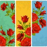 Διανυσματικός κόκκινος αυξήθηκε πλαίσια Σύνολο floral κάθετων εμβλημάτων απεικόνιση αποθεμάτων