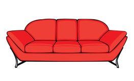 Διανυσματικός κόκκινος καναπές κινούμενων σχεδίων που απομονώνεται στο λευκό Στοκ Φωτογραφία