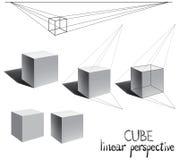 Διανυσματικός κύβος με τη σκιά στη γραμμική προοπτική Στοκ φωτογραφία με δικαίωμα ελεύθερης χρήσης