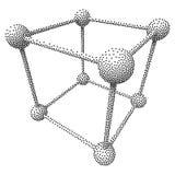 Διανυσματικός κύβος Dotwork πλέγματος Wireframe Στοκ Εικόνα