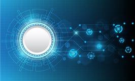 Διανυσματικός κύκλος και τεχνολογία τεχνολογίας στο μπλε υπόβαθρο Στοκ Φωτογραφίες