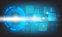 Διανυσματικός κύκλος τεχνολογίας και τεχνολογικός στο μπλε υπόβαθρο χρώματος Στοκ φωτογραφία με δικαίωμα ελεύθερης χρήσης