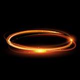 Διανυσματικός μαγικός χρυσός κύκλος Καμμένος δαχτυλίδι πυρκαγιάς Ακτινοβολήστε στρόβιλος σπινθηρίσματος Στοκ Φωτογραφίες