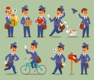 Διανυσματικός μεταφορέας επαγγέλματος αγγελιαφόρων χαρακτήρα ατόμων κινούμενων σχεδίων ταχυδρόμων Χαριτωμένη mustache συσκευασία  απεικόνιση αποθεμάτων