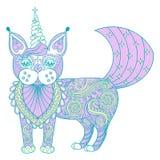 Διανυσματικός μονόκερος γατών χρώματος zentangle μαγικός, μαύρη τυπωμένη ύλη για τον ενήλικο Στοκ Εικόνες