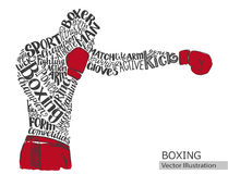 Διανυσματικός μπόξερ Σκιαγραφία του αθλητή από τις θεματικές λέξεις διανυσματική απεικόνιση
