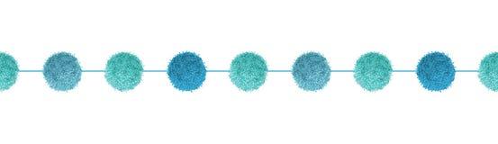 Διανυσματικός μπλε διακοσμητικός αγοράκι Pom Poms με οριζόντιο άνευ ραφής σχοινιών επαναλαμβάνει το σχέδιο συνόρων Μεγάλος για το απεικόνιση αποθεμάτων