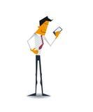 Διανυσματικός νέος επιχειρηματίας που χρησιμοποιεί το έξυπνο τηλέφωνο Διανυσματική απεικόνιση