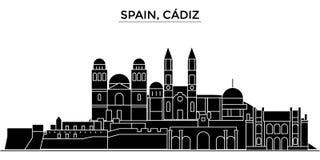 Διανυσματικός ορίζοντας πόλεων αρχιτεκτονικής της Ισπανίας, Καντίζ Στοκ εικόνες με δικαίωμα ελεύθερης χρήσης