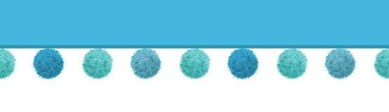Διανυσματικός οριζόντιος άνευ ραφής Pom Poms αγοράκι μπλε διακοσμητικός επαναλαμβάνει το σχέδιο συνόρων Μεγάλος για το δωμάτιο βρ απεικόνιση αποθεμάτων