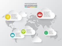 Διανυσματικός παγκόσμιος χάρτης με τα infographic στοιχεία απεικόνιση αποθεμάτων