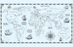 Διανυσματικός παλαιός παγκόσμιος χάρτης με τα όρια και τα σκάφη χωρών διανυσματική απεικόνιση