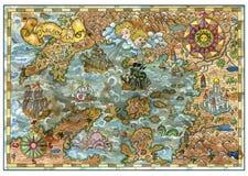 Διανυσματικός παλαιός χάρτης των εδαφών φαντασίας με τα σκάφη πειρατών, τέρατα, κάστρα, νησιά θησαυρών απεικόνιση αποθεμάτων