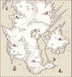 Διανυσματικός παλαιός χάρτης, θησαυρός πειρατών διανυσματική απεικόνιση