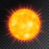Διανυσματικός πορτοκαλής όμορφος ήλιος στο διαφανές υπόβαθρο Στοκ φωτογραφία με δικαίωμα ελεύθερης χρήσης