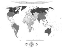 Διανυσματικός πολιτικός χάρτης υποβάθρου της παγκόσμιας περίληψης Στοκ Εικόνες