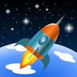 Διανυσματικός πύραυλος που πετά στο διάστημα Στοκ Εικόνες