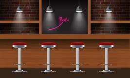Διανυσματικός ρεαλιστικός φραγμός, εσωτερικό μπαρ με τους τουβλότοιχους, ξύλινος μετρητής, καρέκλες, ράφια και λαμπτήρες με την α ελεύθερη απεικόνιση δικαιώματος