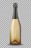 Διανυσματικός ρεαλιστικός χρυσός με το μαύρο κλειστό μπουκάλι CHAMPAGNE που απομονώνεται στο διαφανές υπόβαθρο Κενό προτύπων προτ Στοκ εικόνα με δικαίωμα ελεύθερης χρήσης